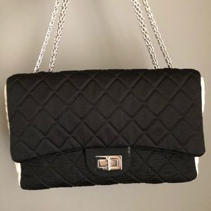 Chanel classic 2.55 blk/white fabric bag